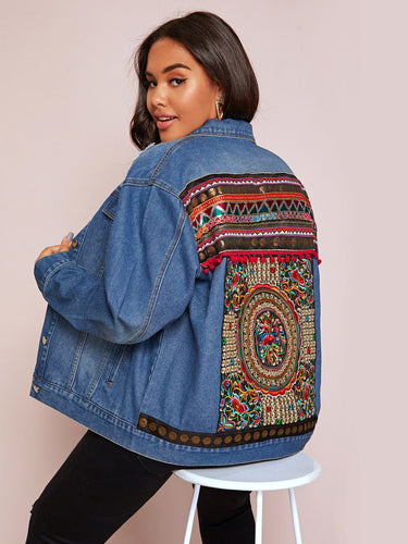 Plus Tribal Embroidery Denim Trucker Jacket