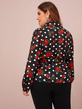 Load image into Gallery viewer, Plus Polka Dot & Floral Belted Waist Wrap Blouse