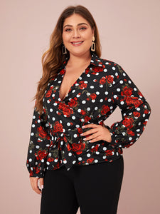 Plus Polka Dot & Floral Belted Waist Wrap Blouse