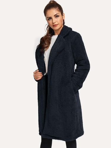 Waterfall Slant Pocket Teddy Coat