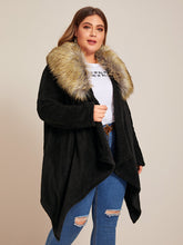 Load image into Gallery viewer, Plus Contrast Faux Fur Collar Teddy Coat