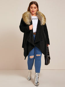 Plus Contrast Faux Fur Collar Teddy Coat