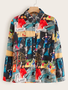 Plus Comic Print Button Through Blouse