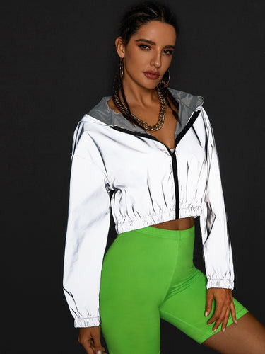 Zip Up Reflective Hooded Windbreaker Jacket