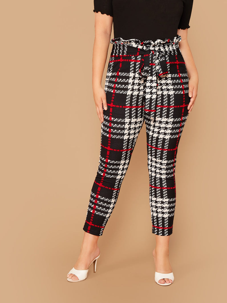 Plus Paperbag Waist Belted Plaid Pants