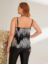 Load image into Gallery viewer, Plus Chevron Pattern Sequin Cami Top