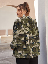 Load image into Gallery viewer, Plus Zip Up Camo Faux Fur Hoodie
