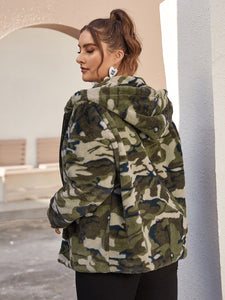 Plus Zip Up Camo Faux Fur Hoodie