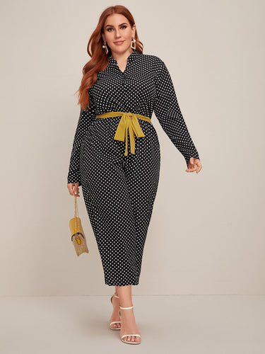 Plus Half Button Belted Polka Dot Culotte Jumpsuit