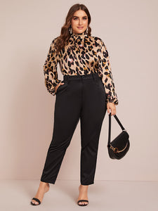 Plus Frilled Neck Allover Print Blouse