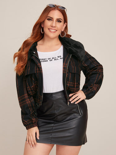 Plus Contrast Faux Fur Plaid Jacket
