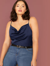 Load image into Gallery viewer, Plus Draped Neck Satin Cami Top
