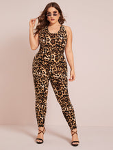 Load image into Gallery viewer, Plus Crisscross Backless Leopard Print Unitard Jumpsuit