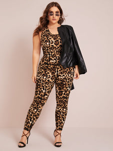 Plus Crisscross Backless Leopard Print Unitard Jumpsuit