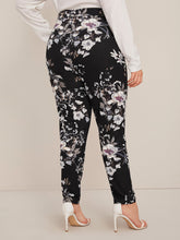 Load image into Gallery viewer, Plus Elastic Waist Slant Pocket Floral Print Pants