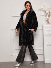 Load image into Gallery viewer, Lapel Collar Faux Fur Coat