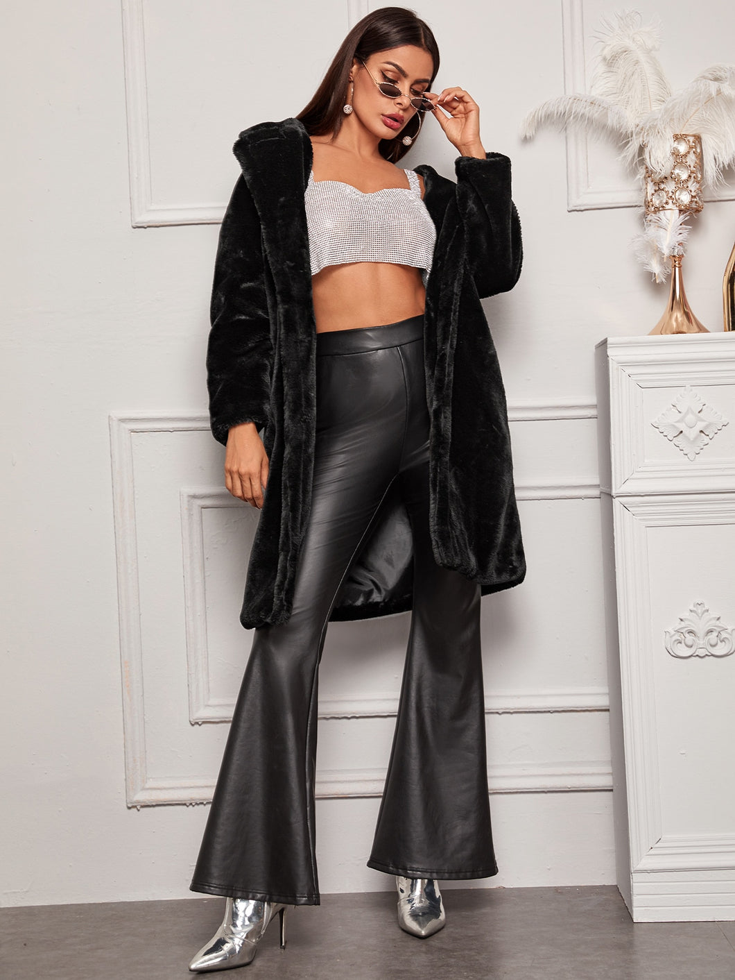 Lapel Collar Faux Fur Coat