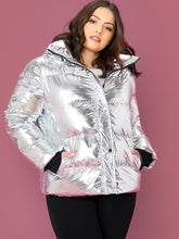 Load image into Gallery viewer, Plus Zipper Front Metallic Padded Jacket