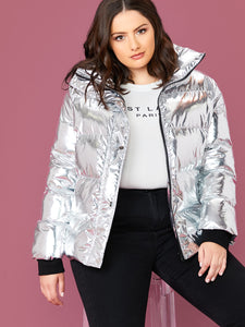 Plus Zipper Front Metallic Padded Jacket