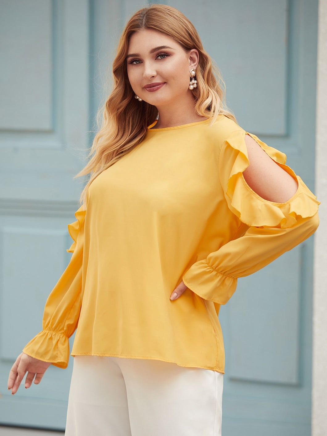 Plus Ruffle Trim Cut Out Blouse