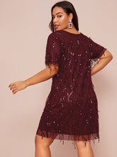 Load image into Gallery viewer, Plus Contrast Sequin Fitted Dress