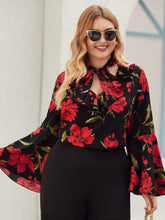 Load image into Gallery viewer, Plus Tie Neck Flounce Sleeve Floral Print Blouse