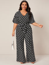 Load image into Gallery viewer, Plus Polka Dot Belted Jumpsuit