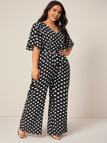 Plus Polka Dot Belted Jumpsuit