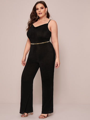Plus Zip Back Flare Leg Cami Jumpsuit Without Belt