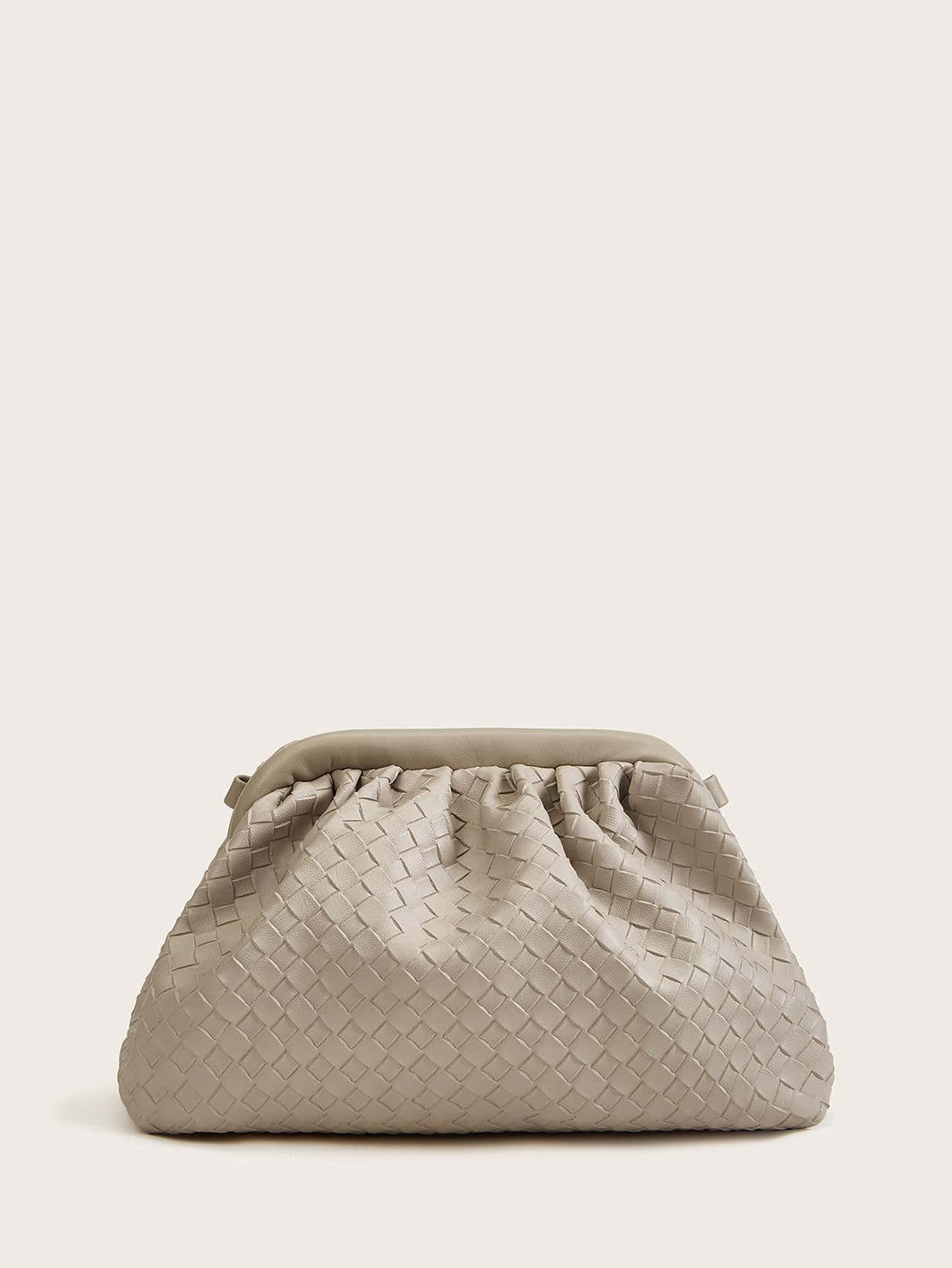Ruched Woven Clutch Bag