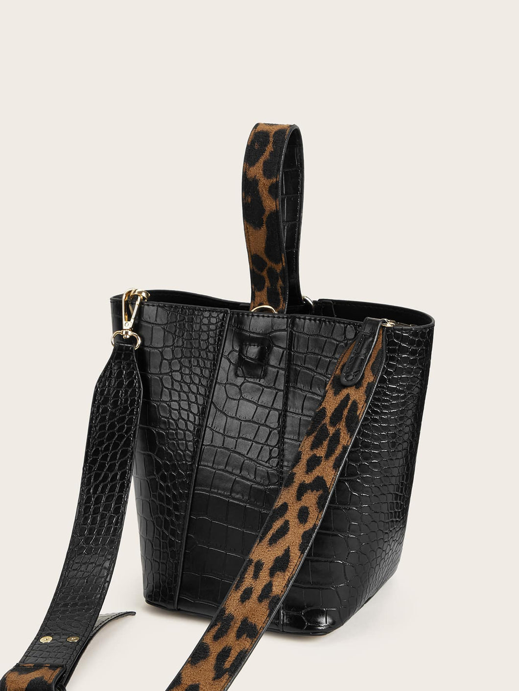 Croc Embossed Satchel Bag With Inner Pouch