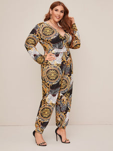 Plus Scarf Print Surplice Wrap Tapered Jumpsuit