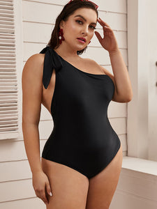 Plus Knot Shoulder One Piece Swimwear