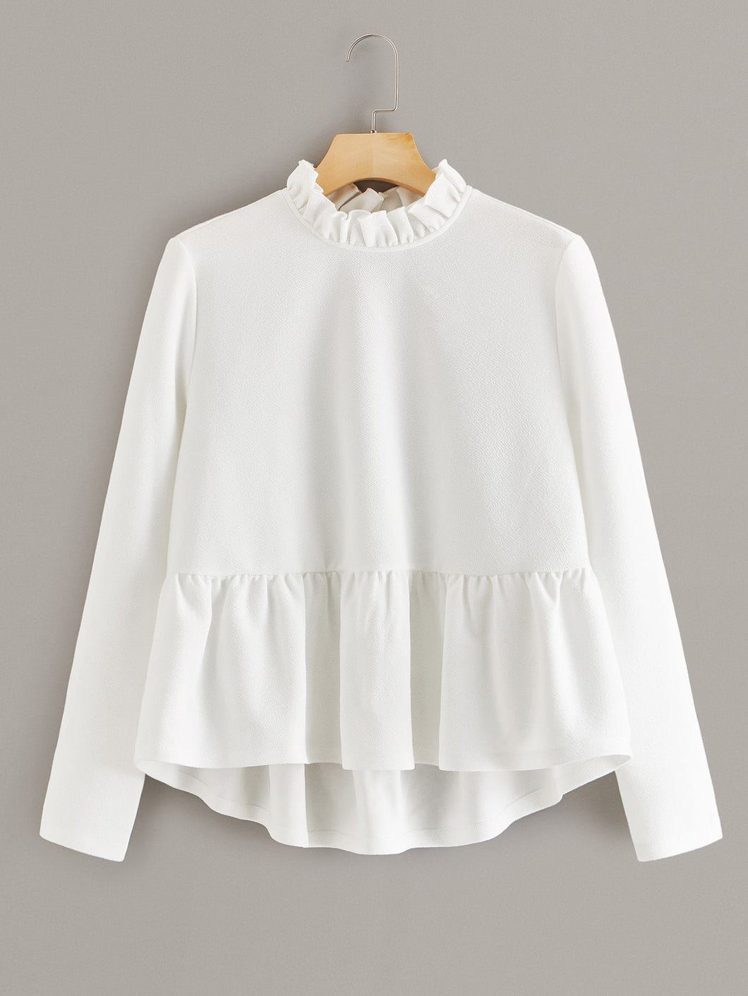 Plus Frill Neck Solid Peplum Top