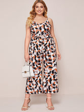 Load image into Gallery viewer, Plus Geo Print Belted Cami Jumpsuit