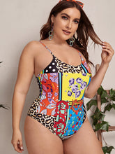 Load image into Gallery viewer, Plus Leopard & Floral Print One Piece Swimwear