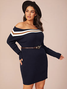 Plus Striped Foldover Bardot Bodycon Sweater Dress Without Belt