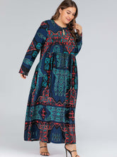 Load image into Gallery viewer, Plus Tribal Print Pocket Side Dress