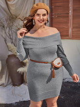 Load image into Gallery viewer, Plus Foldover Bardot Sweater Dress Without Bag