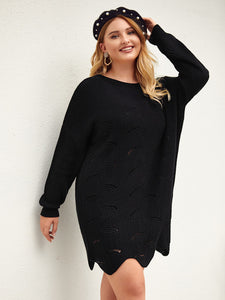 Plus Pointelle Knit Asymmetrical Hem Sweater Dress Without Bag