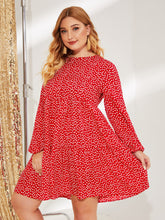 Load image into Gallery viewer, Plus Daisy Floral Print Lantern Sleeve Smock Dress
