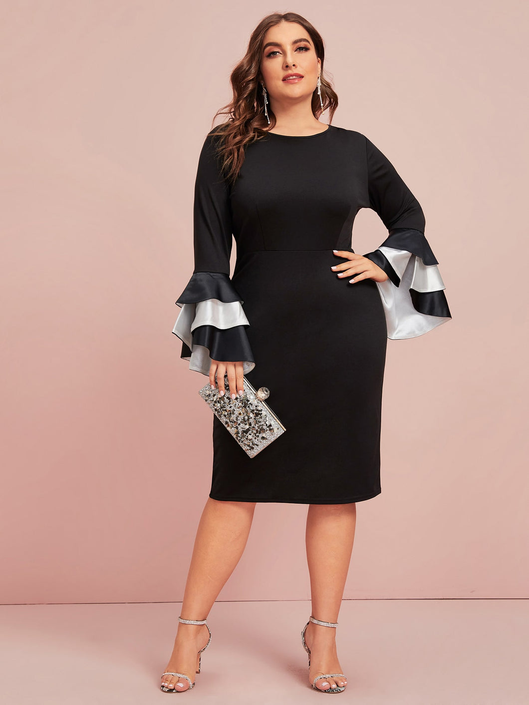 Plus Zip Back Layered Sleeve Dress