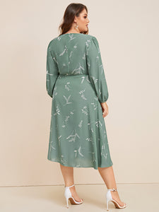 Plus Plant Print Wrap Knotted Dress