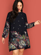 Load image into Gallery viewer, Plus Keyhole Back Floral Print Tunic Dress