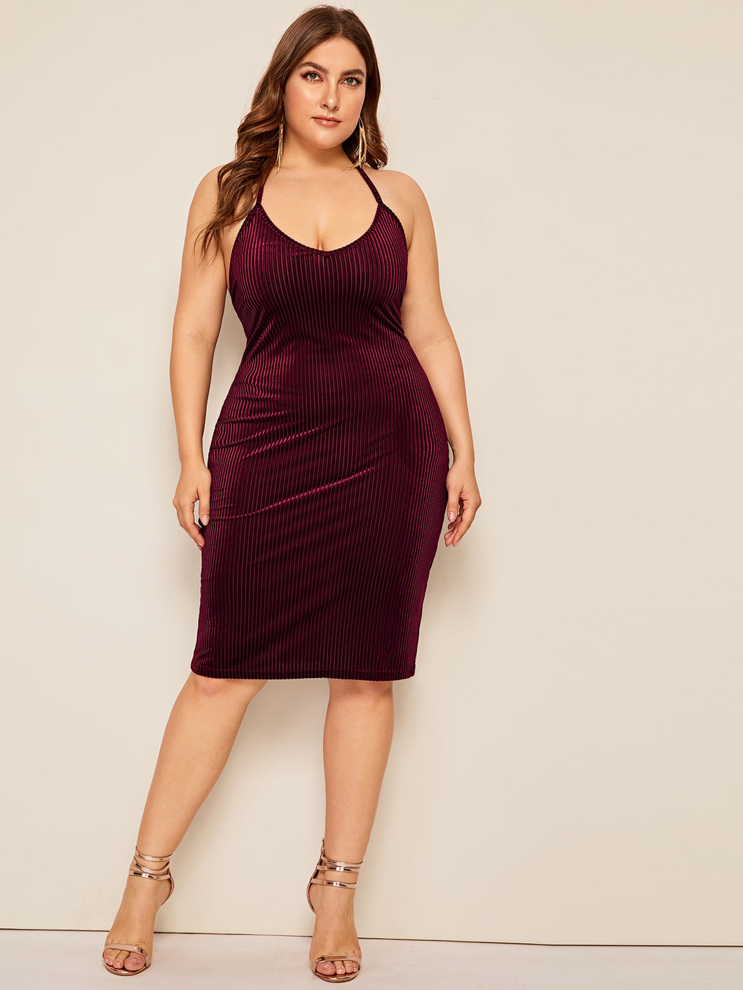 Plus Tie Back Lace Up Ribbed Velvet Halter Dress