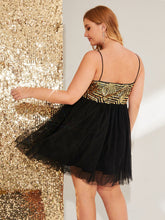 Load image into Gallery viewer, Plus Sequin Bodice Mesh Slip Dress