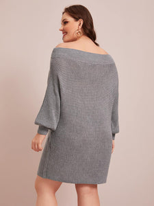 Plus Boat Neck Batwing Sleeve Sweater Dress Without Belt