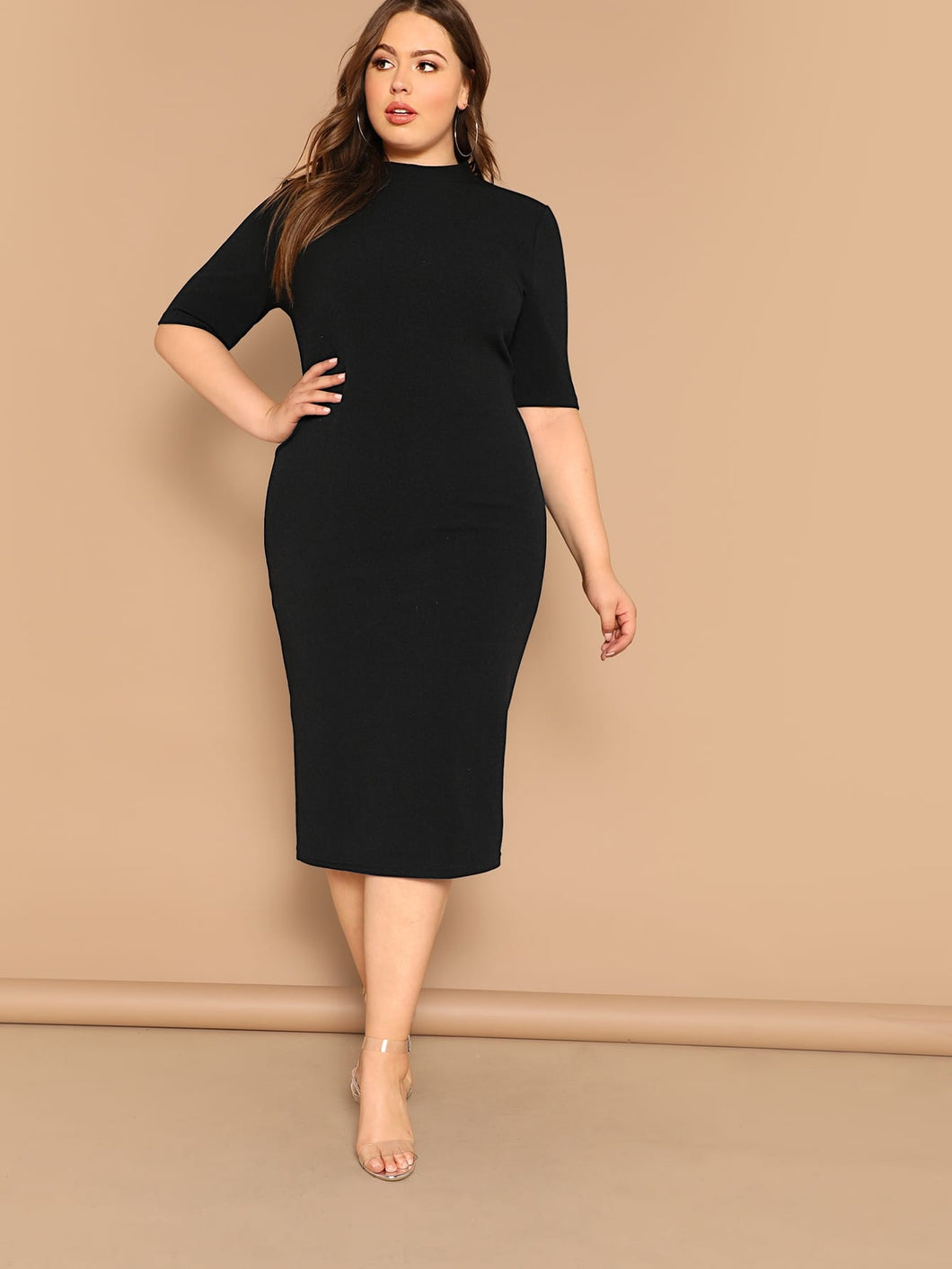 Plus Mock-neck Solid Pencil Dress