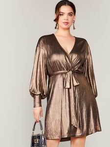 Plus Lantern Sleeve Wrap Belted Metallic Dress