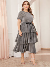 Load image into Gallery viewer, Plus Letter Tie Waist Layered Ruffle Hem Glitter Dress
